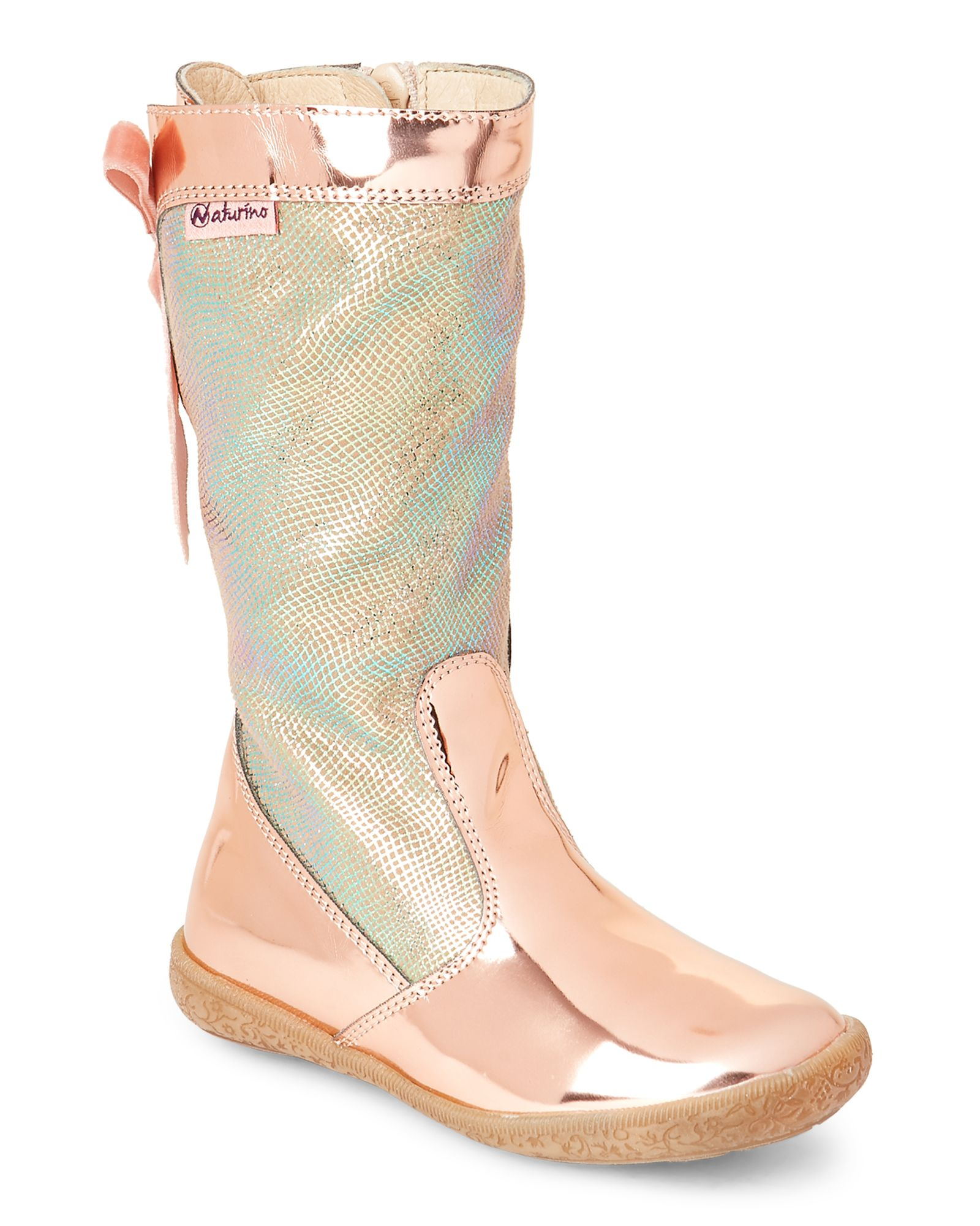 e8a76878263 Naturino (Toddler Kids Girls) Pink Metallic Lace-Back Boots