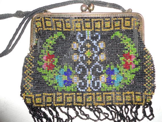Vintage  German Hand Bag Purse Floral Glass Bead Metal Frame Looped Fringe