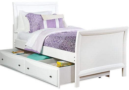 Ivy League White 4 Pc Twin Sleigh Bed W Trundle Girls Bedroom