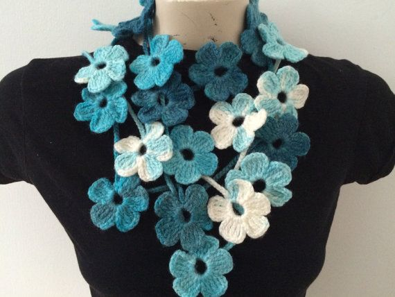Hey, I found this really awesome Etsy listing at https://www.etsy.com/listing/227003414/crocheted-flower-scarf-lariat-necklace