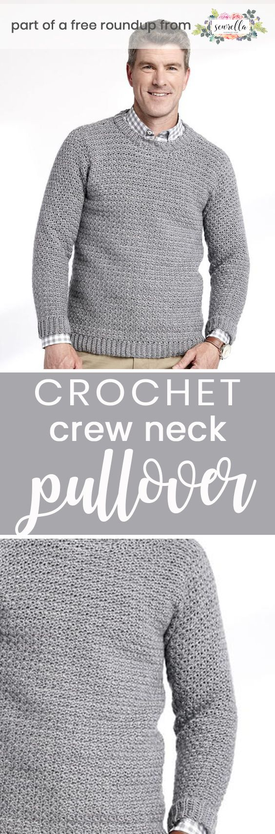 caabc921ced7eb Get the free crochet pattern for this Crochet Crew Neck Pullover Sweater  from Yarnspirations featured in my husband-approved crochet sweaters for  men FREE ...