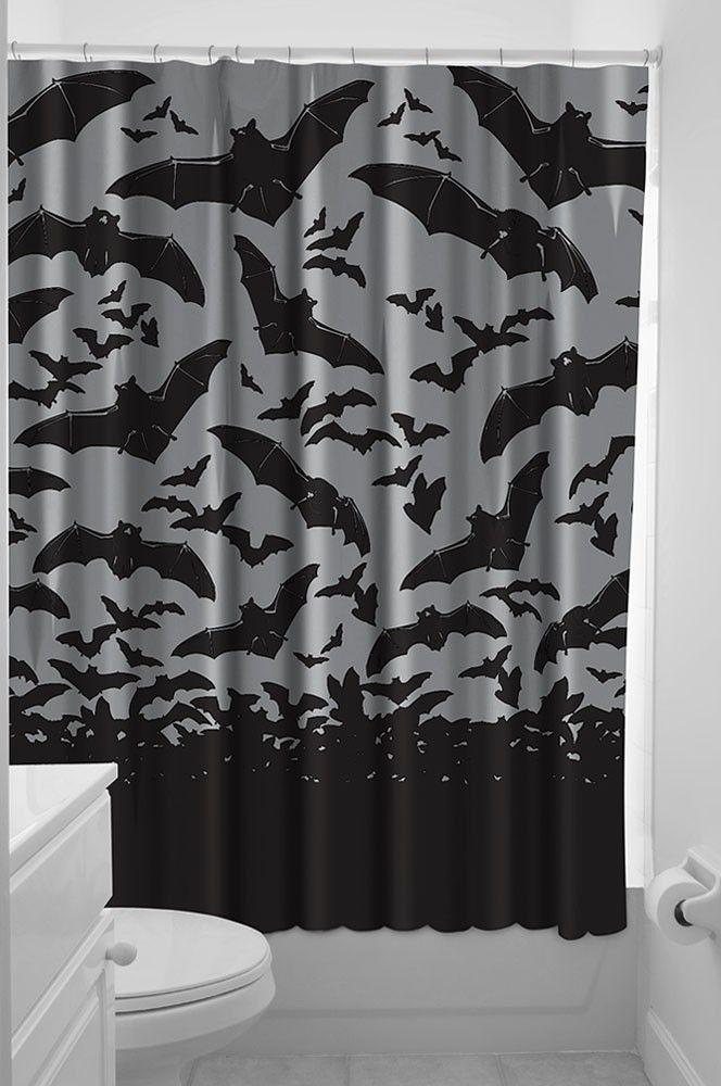 Spooksville Bats Shower Curtain Rockabilly Punk Retro Homewares Gothic  Sourpuss - Spooksville Bats Shower Curtain Rockabilly Punk Retro Homewares