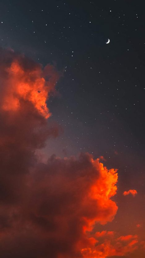 Red Clouds Twilight Moon Iphone Wallpaper Free Getintopik Aesthetic Wallpapers Sky Aesthetic Aesthetic Iphone Wallpaper