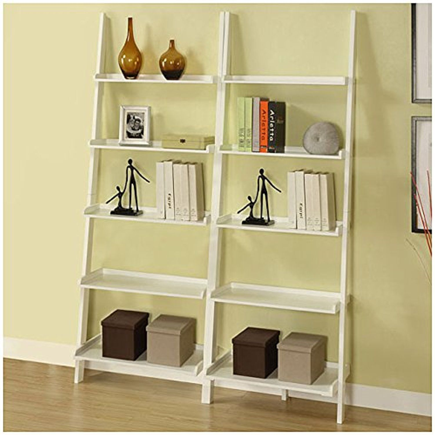 White fivetier piece open shelves leaning for more storage