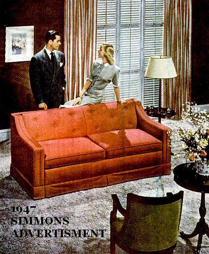 1940s Vintage Sofa Couch Davenport Long Mid By Onvintagefurniture Art Deco Living Room Art Deco Sofa Vintage Sofa