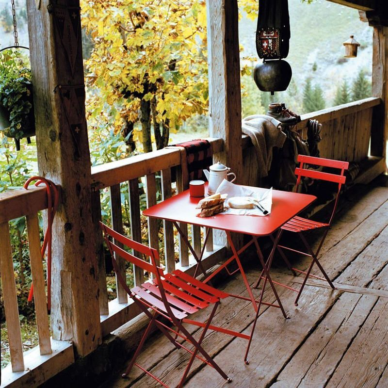 salon de jardin acier pliant bistro coquelicot fermob. Black Bedroom Furniture Sets. Home Design Ideas
