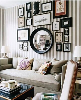 A striped wall would be a great accent wall! Love the picture collage.