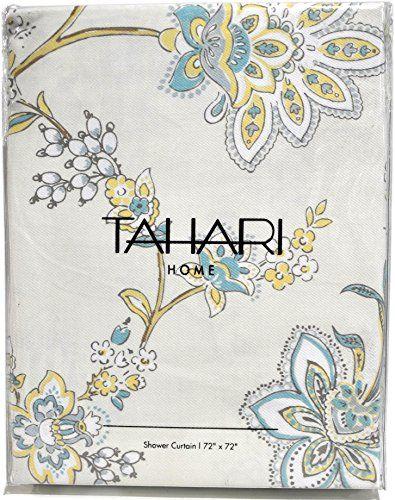 Tahari Fabric Shower Curtain Yellow Blue Gray White Floral Pattern ...