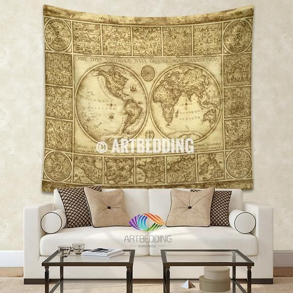 Vintage world map wall tapestry, old world map wall hanging ...