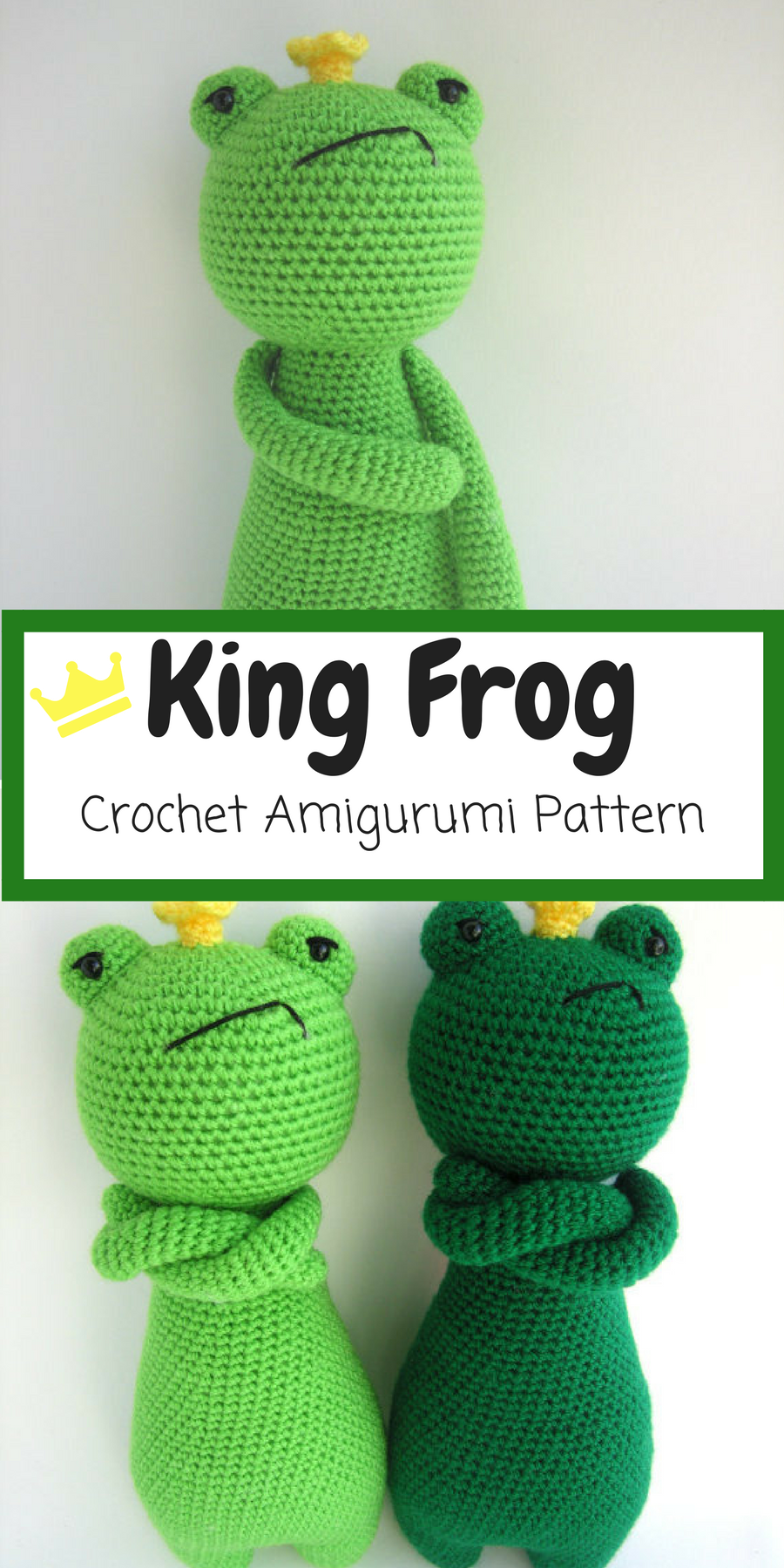 I love this Grumpy King Frog Amigurumi. This is a pattern to make ...