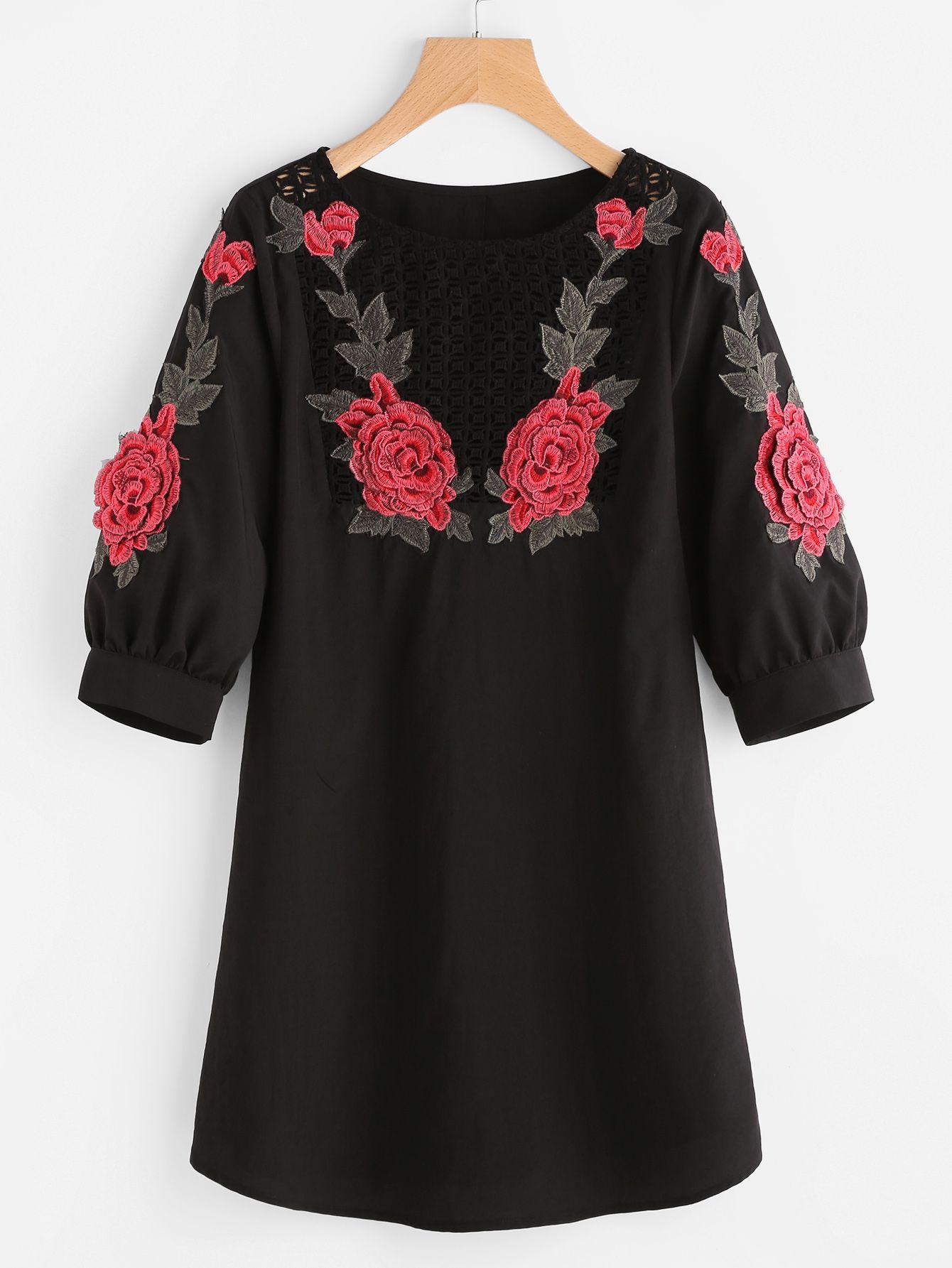 97c724ace6313 Shop Crochet Yoke 3D Rose Applique Puff Sleeve Dress online. SheIn ...
