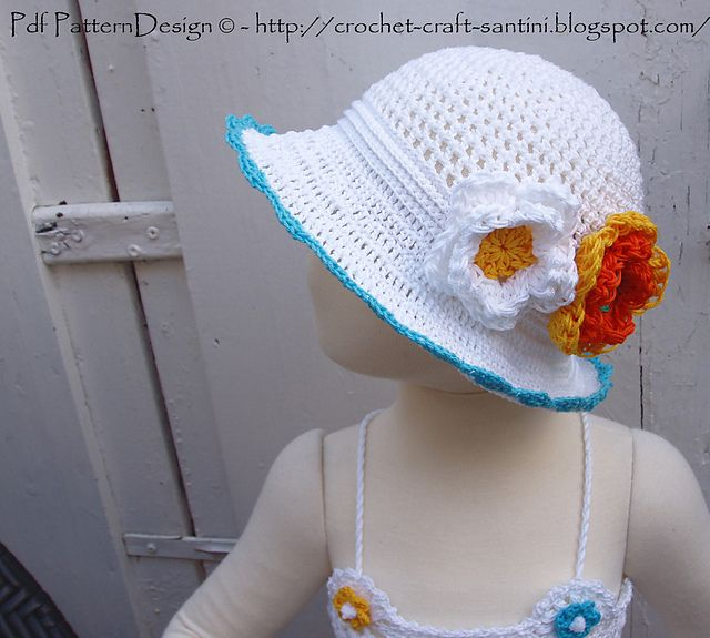 Sun Hat With Flowers Or Bow Pattern By Sophie And Me Ingunn Santini