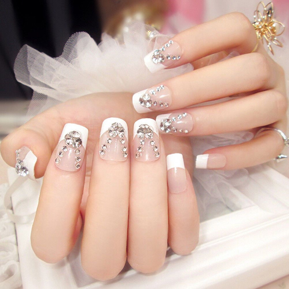24x French Full Nail Tips False Nails With Glue Short Sticker Design