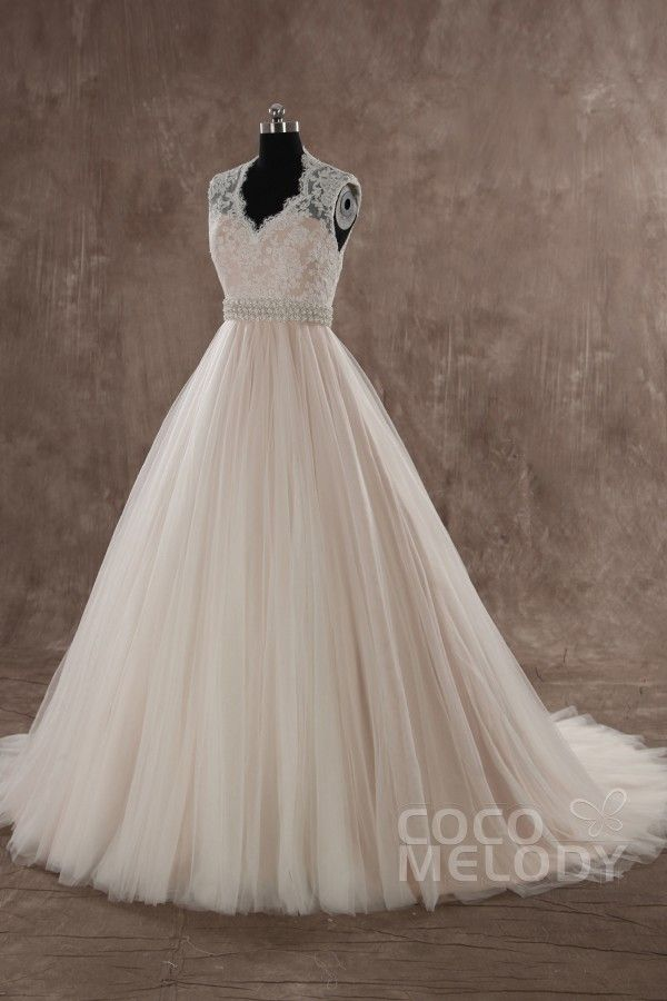 Classic A-line V-neck Natural Train Tulle Ivory Sleeveless Zipper With Button Wedding Dress with Sashes LWWT15019