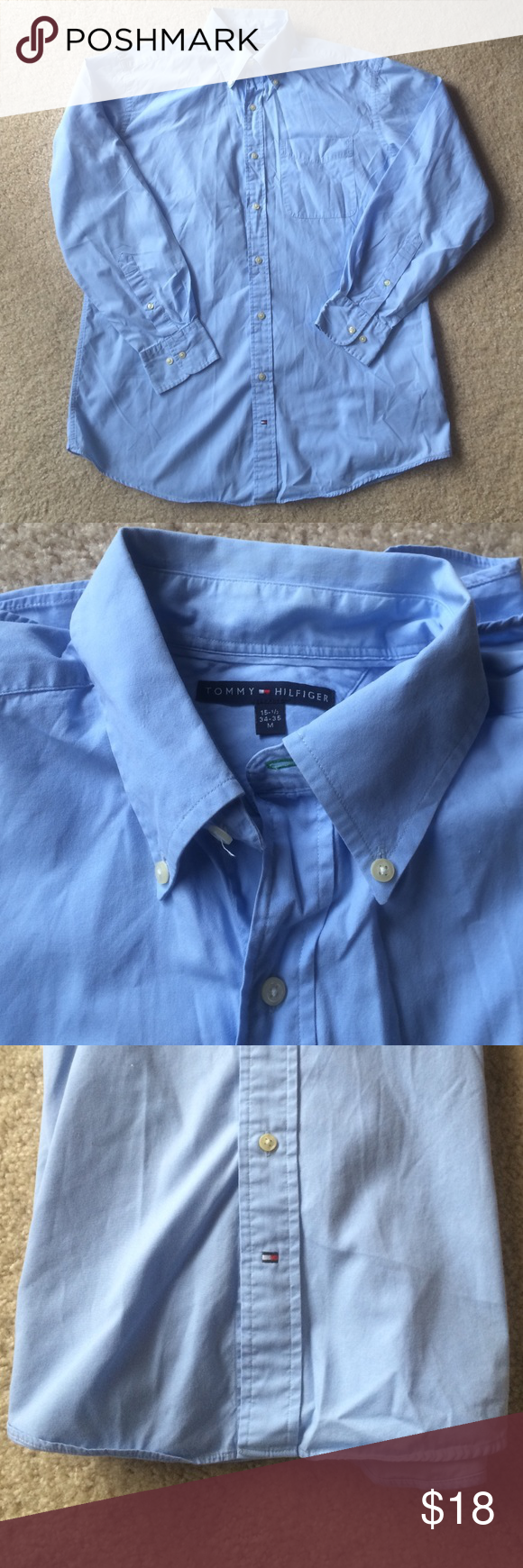 Men's Tommy Hilfiger Button Up Size M Sky blue Tommy Hilfiger button up works with both suits for work and khakis or shorts for a more casual look. See picture of tag for neck sizing! Tommy Hilfiger Shirts Dress Shirts
