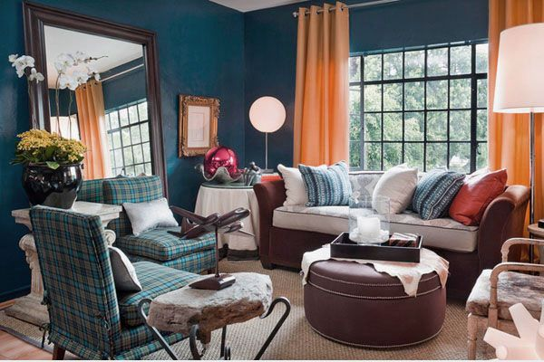 Eclectic Living Room Apartment Design Ideas With Blue Walls And Custom Blue Curtain Designs Living Room Inspiration Design