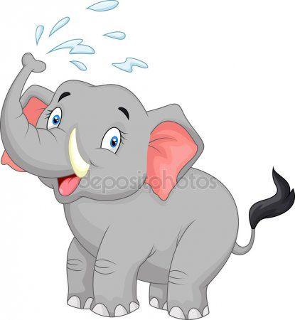 Elefante De Dibujos Animados Rociando Con Agua Elefantes Desenho Desenhos De Bichinhos Elefantes