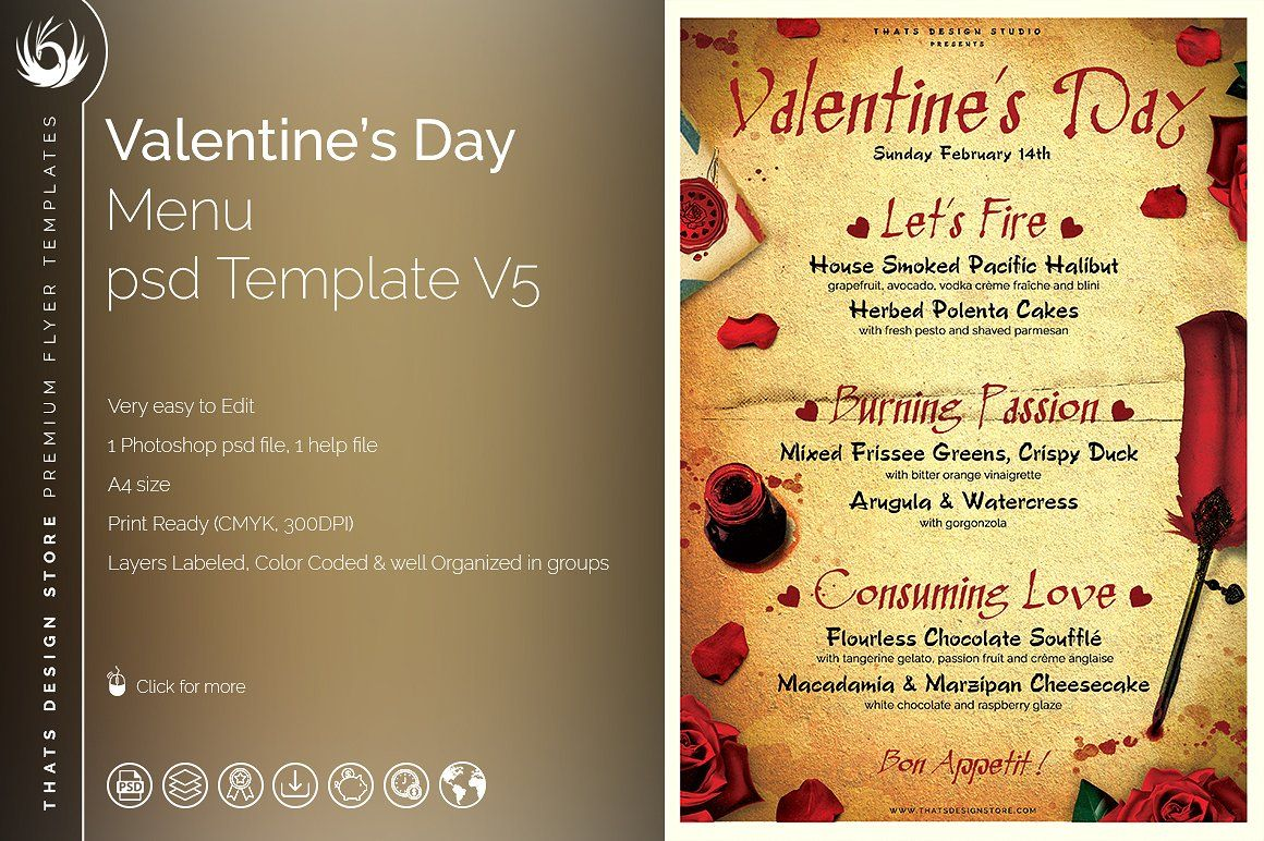 Valentines Day Menu Template V5 By Thats Design Store On