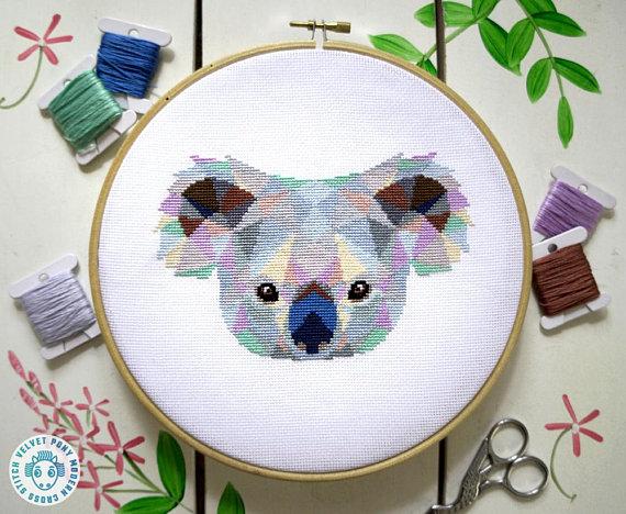 Photo of Modern Cross Stitch Pattern – Cute Little Koala Geometric Animals Embroidery Easy Cross Stitch Design Counted Cross Stitch Needlepoint