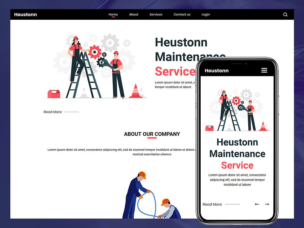 Heustonn Maintenance Website Html Template (With images