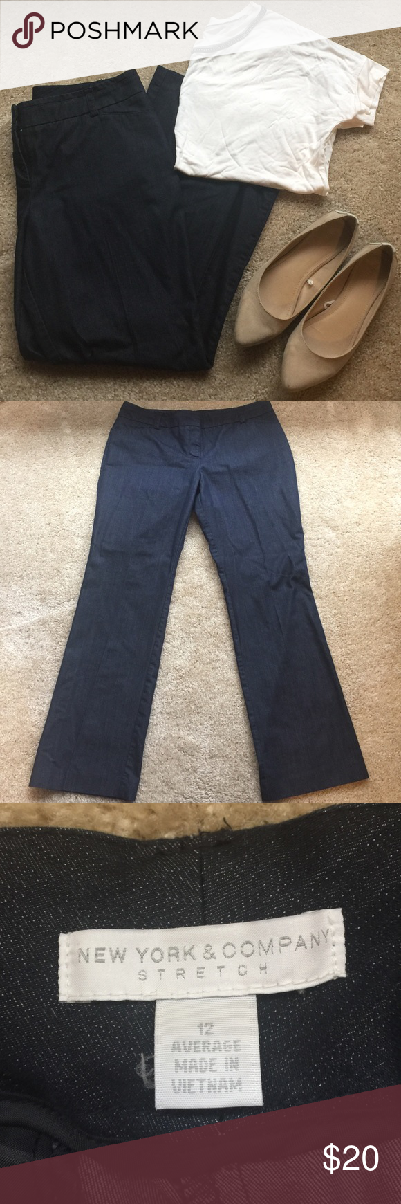 New York and Co Stretch Denim Dress Pants Size 12 These pants are a dress type pant, but in a lightweight, stretchy-ish denim fabric. It gives you stretch where you need it, and maintains a nice structured line at the bottom. Hard to describe! I only wore these pants twice. The color is like a darker wash denim. New York & Company Pants Straight Leg