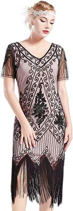 060675453a Amazon.com  BABEYOND 1920s Art Deco Fringed Sequin Dress 20s Flapper Gatsby  Costume Dress (Black Beige