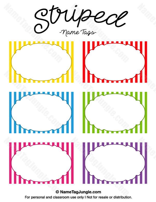 Free Printable Striped Name Tags The Template Can Also Be Used For Creating Items Like Label Name Tag Templates Tag Templates Labels Printables Free Templates
