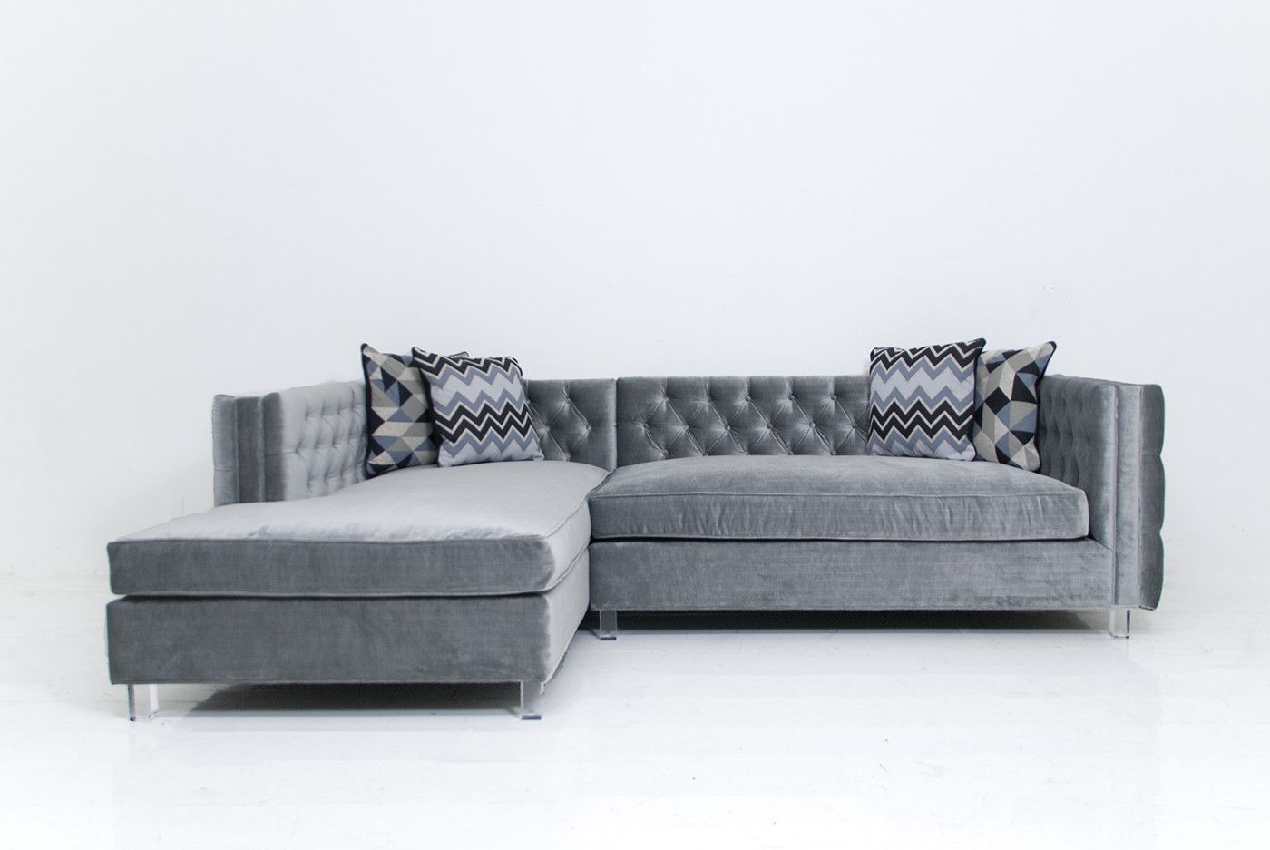 New Deep Inside Out Sectional In Elephant Grey Velvet Cushions