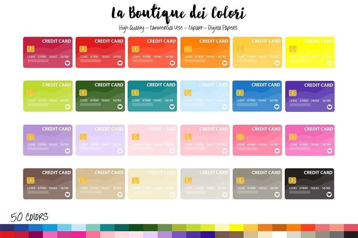 50 rainbow credit card clipart clip art digital
