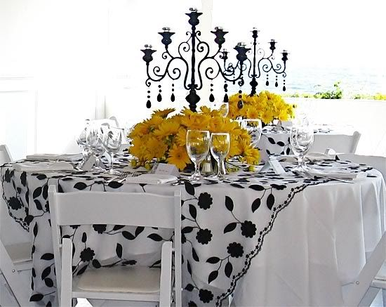 Our Midnight Candleabra arranged on a stylish black and white with