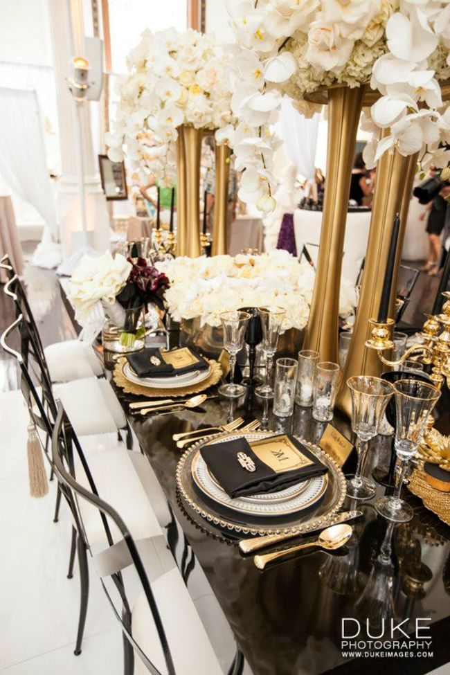 the great gatsby wedding inspiration bridal style pinterest gatsby wedding gold vases and. Black Bedroom Furniture Sets. Home Design Ideas