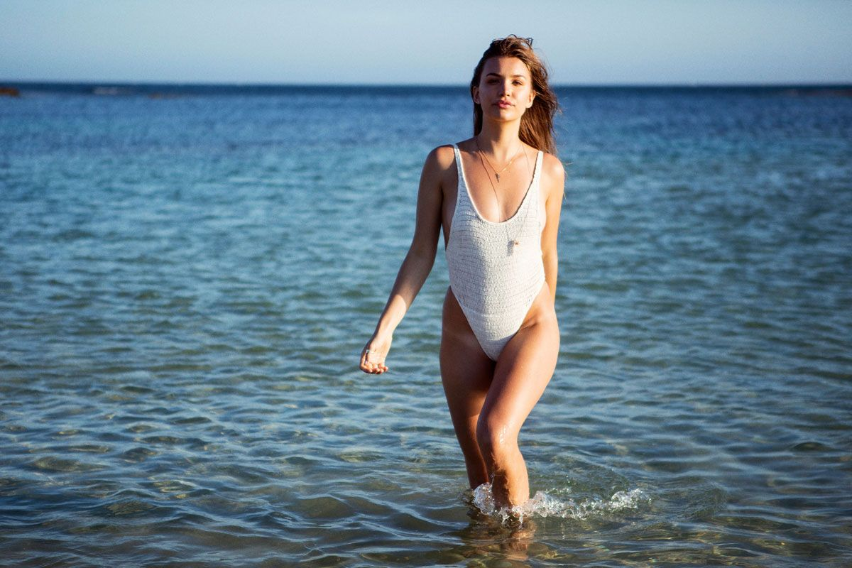 Allison Mackie allisoncameron mackie for c-heads | white swimsuit