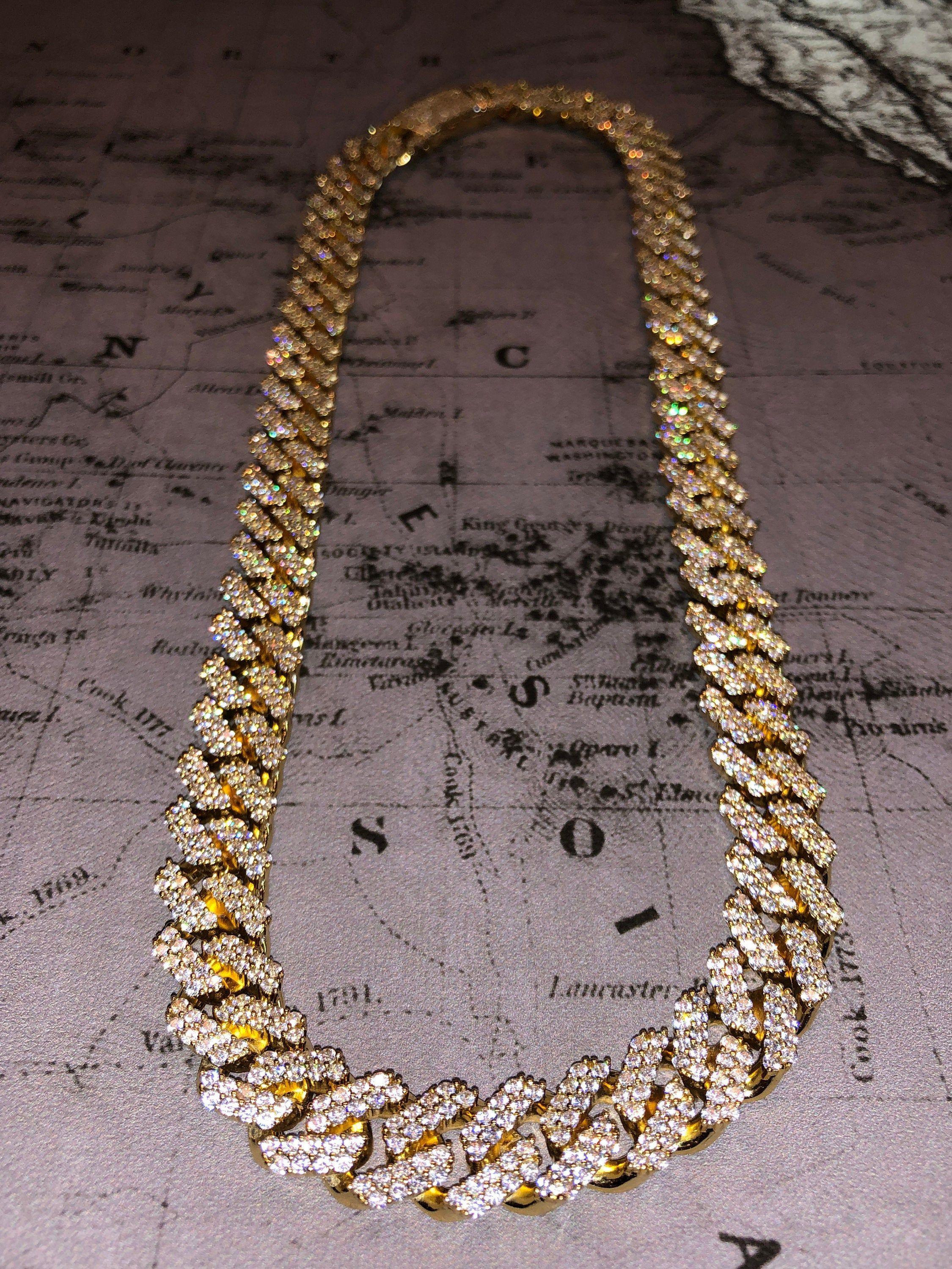 Men's 12MM Miami Cuban link chain 14k gold filled created