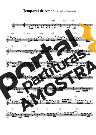 Leandro E Leonardo Temporal De Amor Partitura Para Saxofone Alto Eb Partituras Saxofone Alto Clarinete