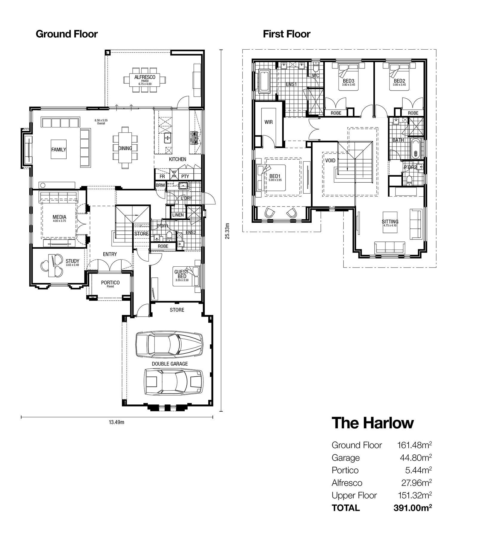 The Harlow Double Storey Designs House Floor Plans Floor Plans House Plans