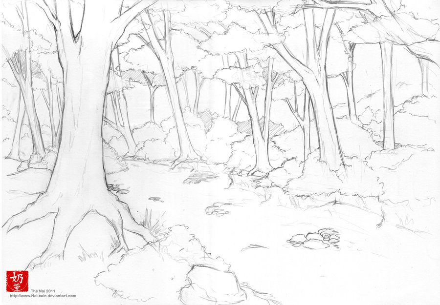 Forest Line Art By Nai Xain On Deviantart Forest Drawing Nature Drawing Forest Sketch
