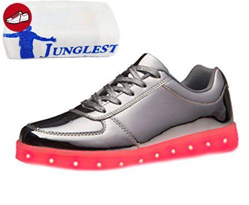 (Present:kleines Handtuch)Weiß EU 39, USB LED-Licht Freizeitschuhe Laufschuhe Herren Schuhe Sneaker Leuchtend Sportschuhe JUNGLEST® und 7 Wechseln Mode Damen aufladen für m