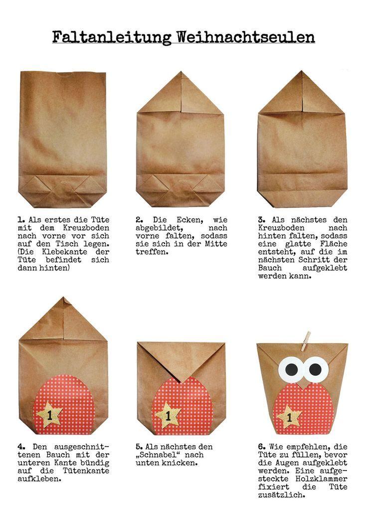 DIY Adventskalender - Weihnachtseulen 2019 - Blau - Papierdrachen