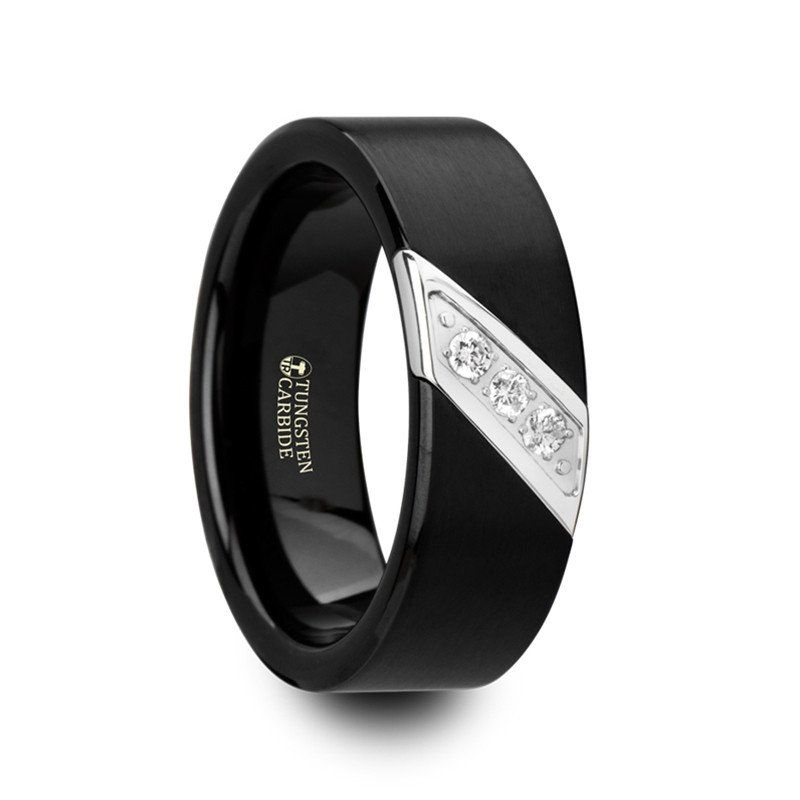 Skyfall Flat Black Satin Finished Tungsten Carbide Band With Diagonal Diamonds Set In Black Tungsten Rings Mens Wedding Rings Tungsten Carbide Wedding Bands