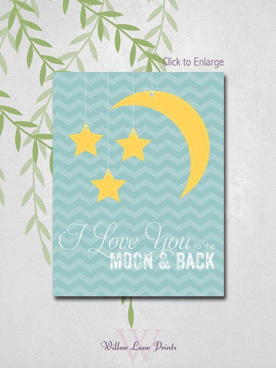BOYS 11x14 PRINT, Baby Boys Wall Decor, I love you to the moon and back, nursery art, boy nursery prints, children's art, nursery decor on Etsy, $21.00