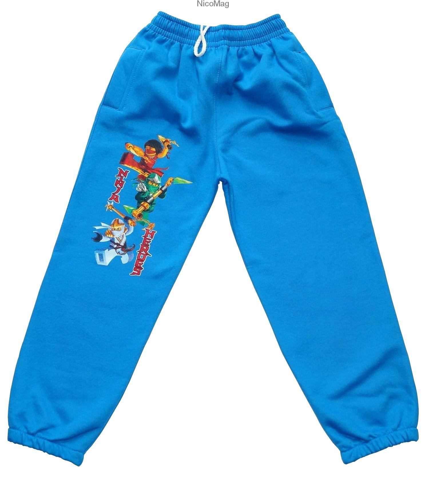 Spodnie Ninja Heroes Ocieplane Niebieskie Chlopiec Fashion Sweatpants Pajamas
