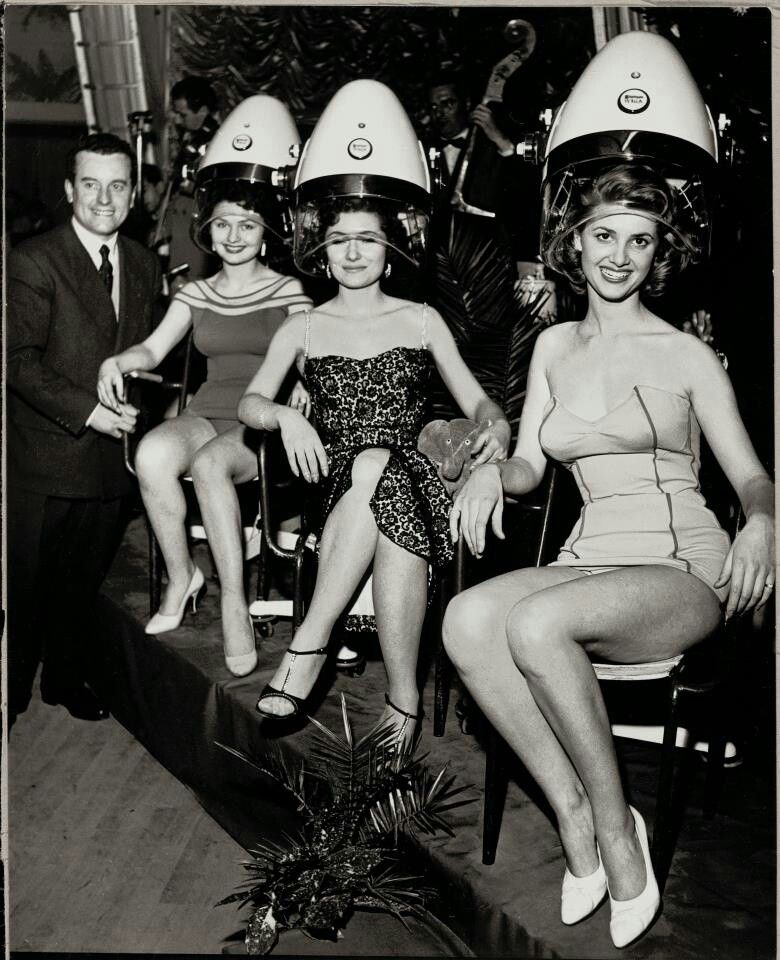 Fifties Pinup Girls With Vintage Hood Dryers