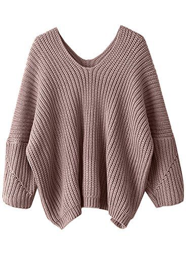 01800b0b4b1 Futurino Womens Solid Crew Neck Drop Sleeve Oversized Sweater Knit ...