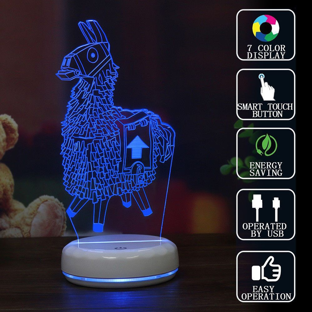 Fortnite Llama Figure 3d Led Light 7 Colors Usb Touch Desk Lamp Deco Best Gifts 3d Night Light Usb Save Energy