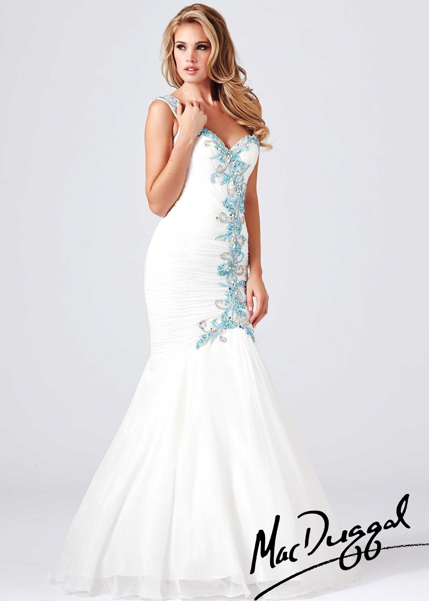9dc565ac3d5 Mac Duggal 64682M - White Beaded One Shoulder Mermaid Prom Dresses Online   thepromdresses