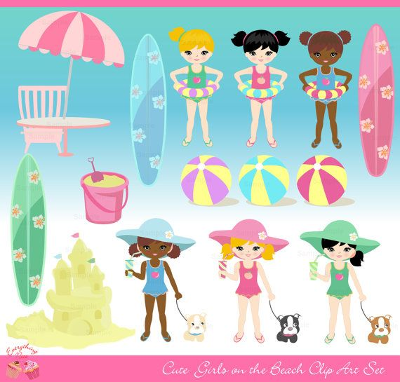 Cute Girls on the Beach Clip Art Set by 1EverythingNice on Etsy
