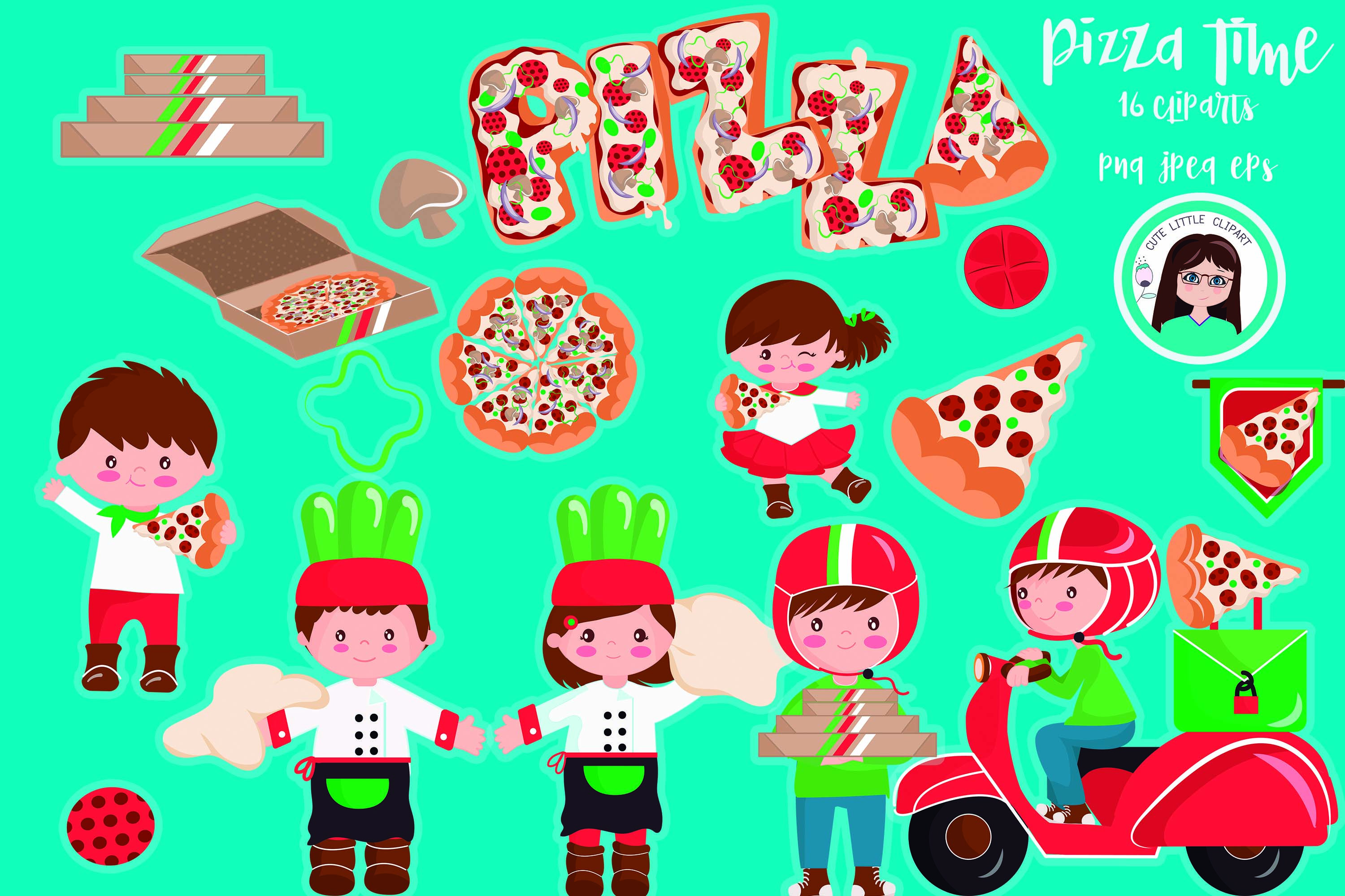 Pizza time cute characters and elements 16 cliparts Each