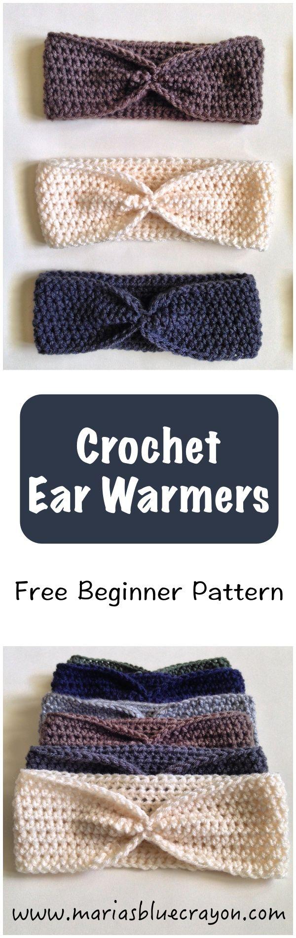 Beginner pattern for crochet ear warmers using half-double crochet ...