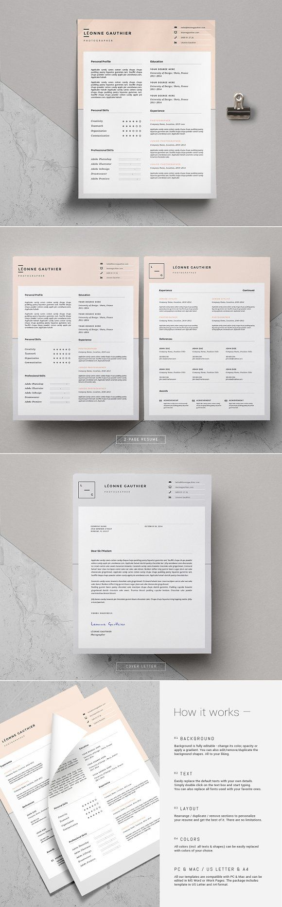 Minimal Resume Template / Léonne by This Paper Fox on ...