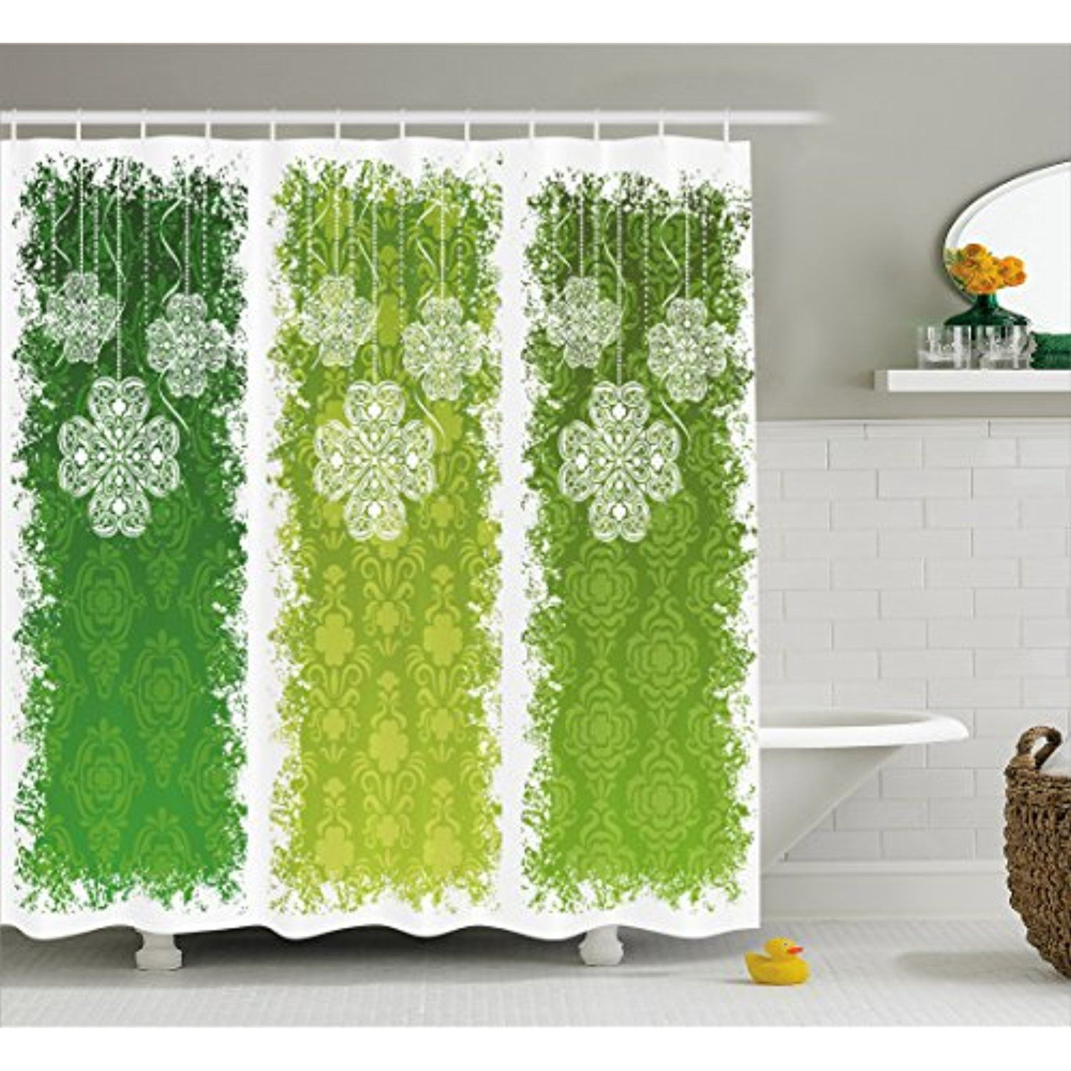 Irish Shower Curtain By Ambesonne Aged Vintage Antique Figures On Green Toned Color Bands Celtic
